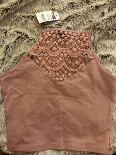 Charlotte Russe XS pink halter tank top with crochet