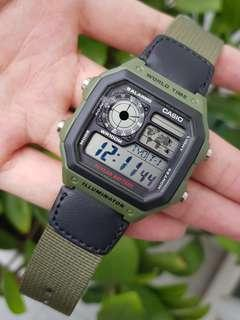 Guarantee 100% authentic Brand new Casio Watch Or Full Refund. Water Resistant 100M, Illuminator, Green Nylon Band watch AE1200  (only 1 instock,  rarely found in shops) AE-1200WH-1BV Casio unisex watch, Cabin crew,  ae1200wh ae1200whb unisex watch sale