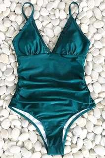 Teal Peacock Green Cut Out One Piece Swimsuit