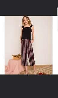 BNWT TSW Cliona Pinstripe High Waisted Culottes in Black the stage walk