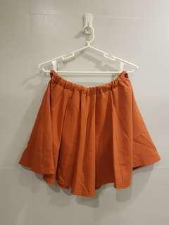 Orange Skater Mini Skirt
