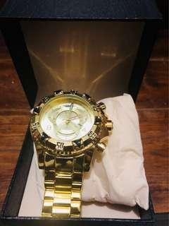 Waterproof luxury watch gold