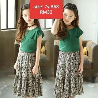 Korean style kids girl green 2 pieces set