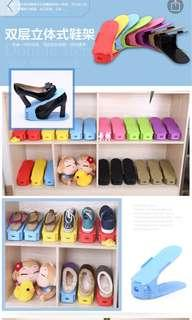 Double layer shoe rack stacker