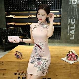 [PO] CNY Pink Satin Floral Cheongsam