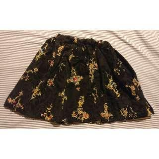 Cute Black Floral Skirt (S-M)