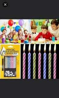 Magic relighting candle. Happy birthday candles