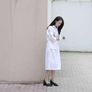 #nude studiodoe 襯衫洋裝-白-F