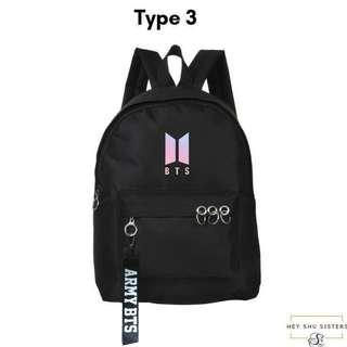 (Restocked!) $19.90 fast deal fajar lrt! BTS backpack with BTS Army bag strap