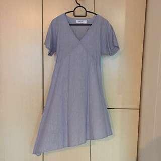 TEM pinstriped assymetrical dress
