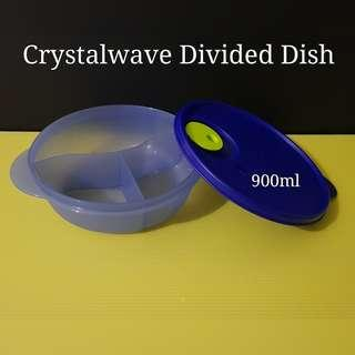 Authentic Tupperware Crystalwave Divided Dish 900ml (1) - Last 2pcs 22.2cm(D) x 6.2cm(H)  Retail Price S$25.90/pc Blue