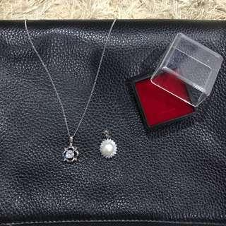Silver Necklace with 2 Pendants set
