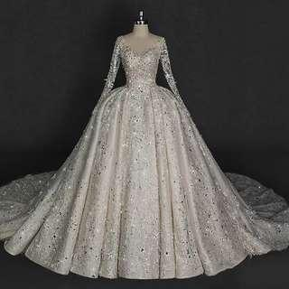 Long Sleeves Glitter Gown