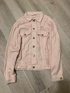 Zara punk style oversized Pink Denim Jacket 粉紅糜爛風特大牛仔褸 外套
