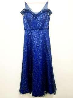 Elegent dark blue Dinner /wedding dress/ gown