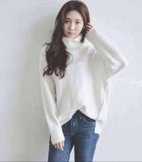 🌹超質感超美側邊開叉前短後長白色高領毛衣 訂製款
