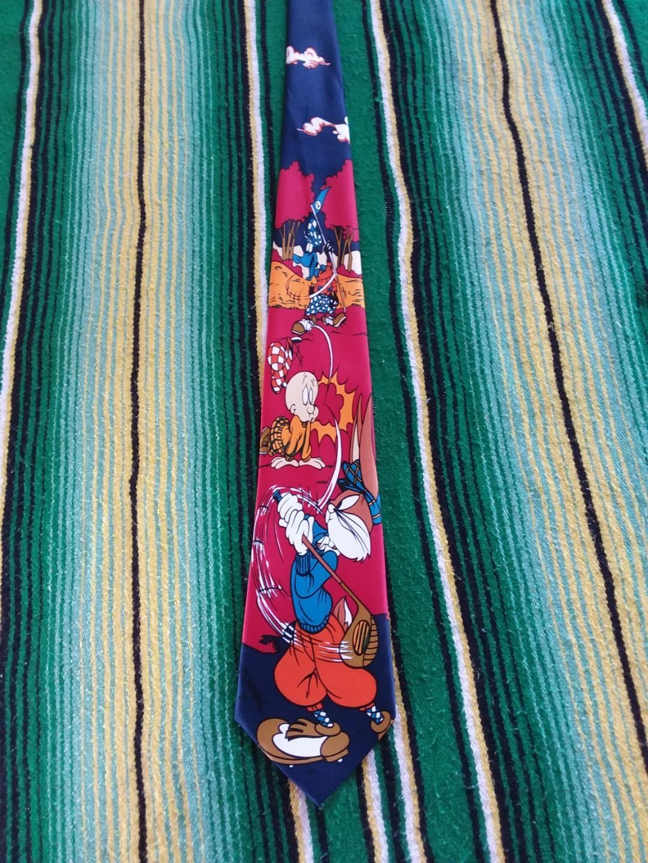 90s René Chagal Tie Looney Tunes Rare Golfing Print