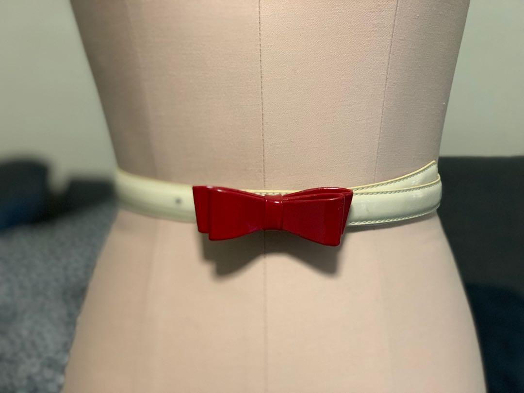 Alannah Hill Leather Belt bow cream/ off white red Lolita