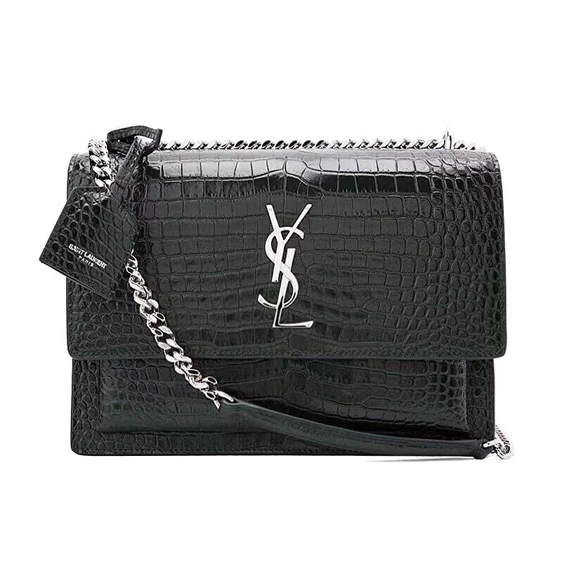 🔥CNY Sale! LN YSL Sunset Medium Black - Shiny Crocodile Croc Embossed  Leather Bag Handbag 4c9cb87bae