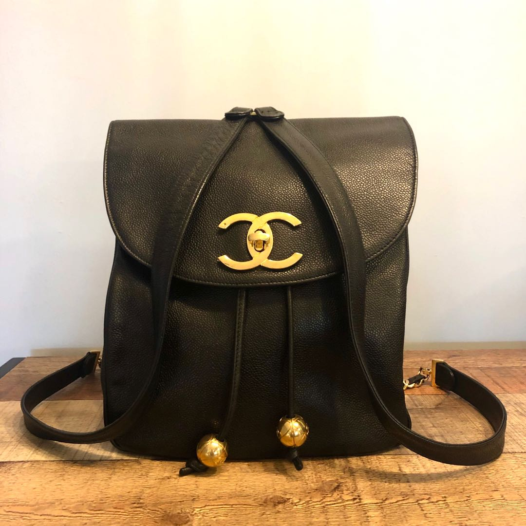 d9a8c2b8f78b Authentic Chanel Caviar Backpack w 24k Gold Hardware & Large CC Logo ...