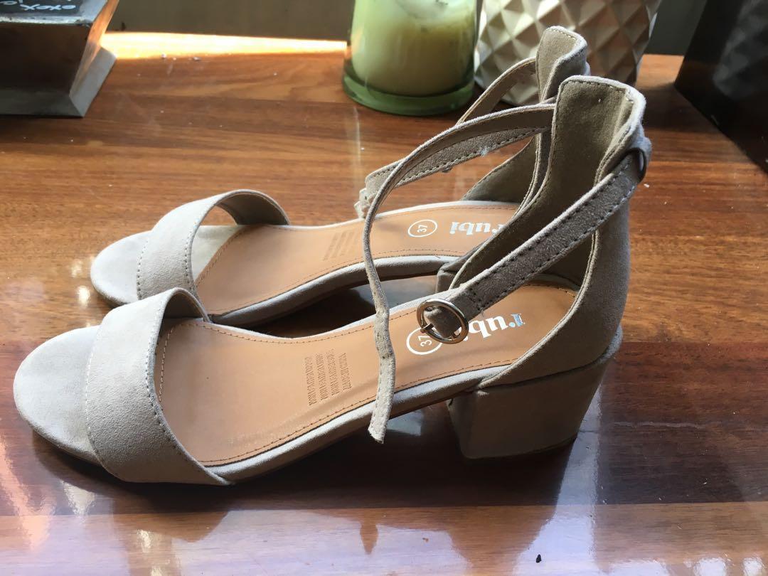 Blush/Cream block heels