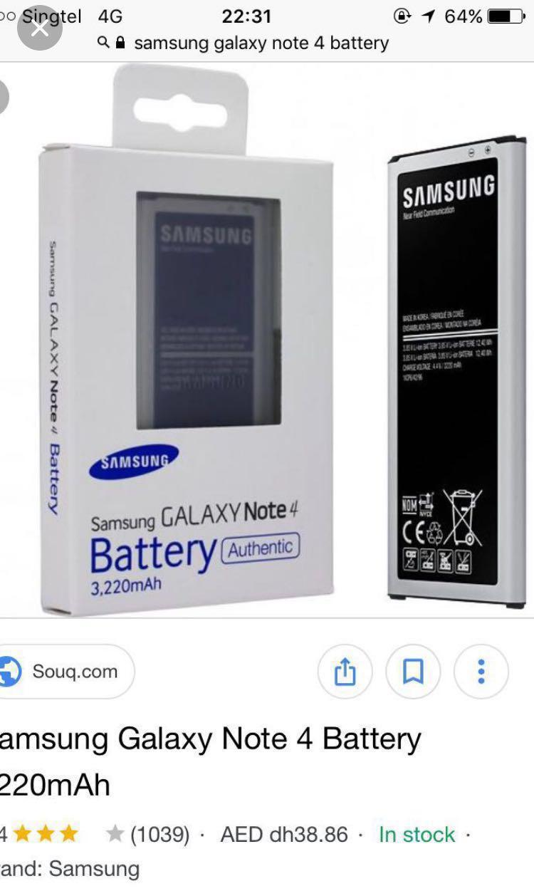 Brand new Samsung note 4 Battery Authentic, Mobile Phones