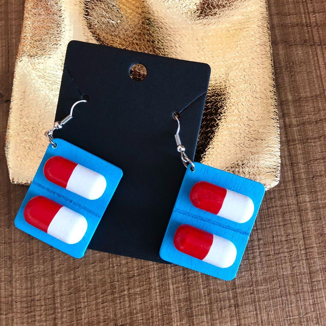 Brand new unique cool hipster capsule pills dangling earrings