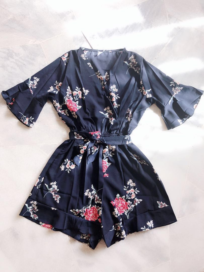 fa059a6286a3 Dark Blue Floral Print Romper   Jumpsuit (Ready Stock Sold out ...