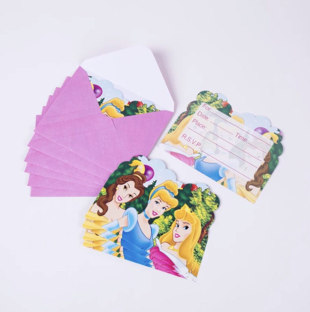 graphic about Disney Printable Envelopes called Disney Princess Social gathering Invitation Playing cards with Envelope