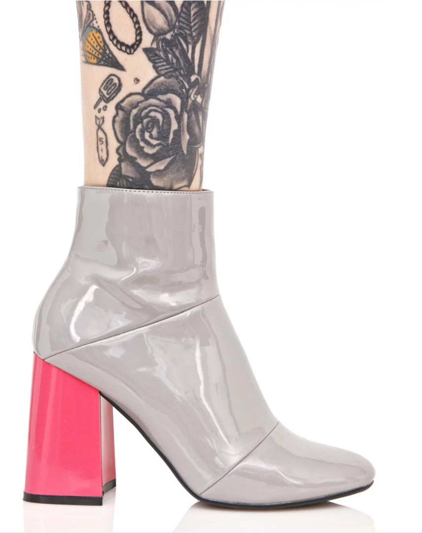 dd069e11a0d Dollskill Grey Patent Leather Ankle Boots