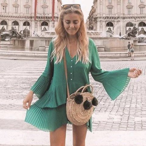 a465e513 Green Zara contrasting pleated blouse minidress, Women's Fashion ...