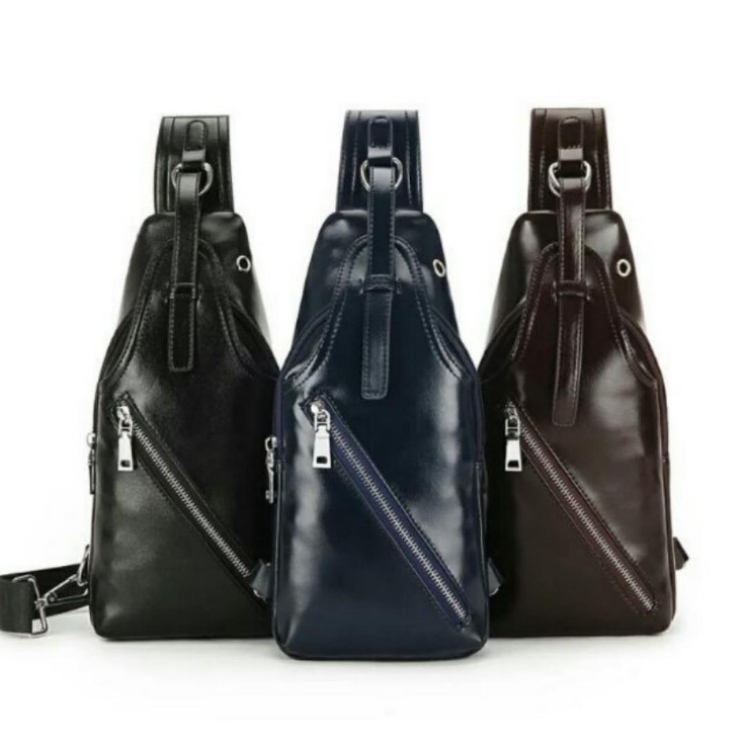 ca04a70775b8 Instock Casual Plain Men Leather Sling Chest Bag Korean Ulzzang ...