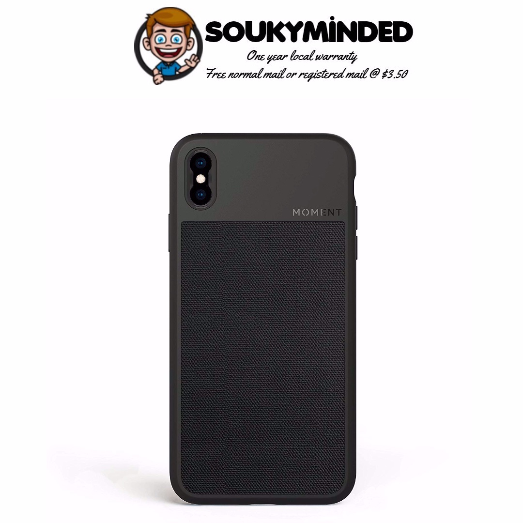 online retailer 57ea5 55847 [IN-STOCK] iPhone Xs Max Case || Moment Photo Case in Black Canvas - Thin,  Protective, Wrist Strap Friendly case for Camera Lovers.