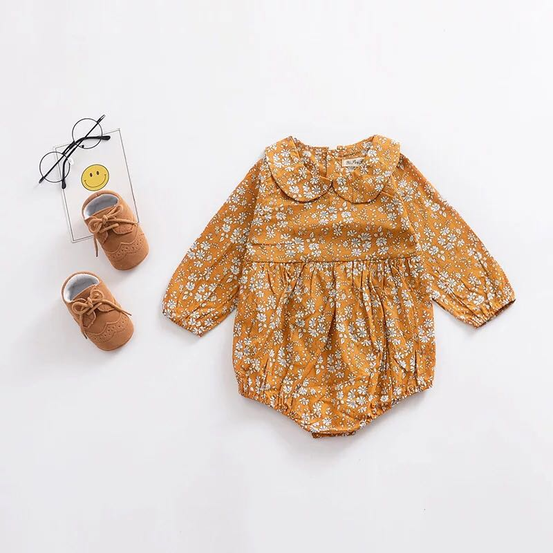6ae8d907a30 🌟INSTOCK🌟 Scallop Collar Mustard Yellow Floral Long Sleeves Onesie ...