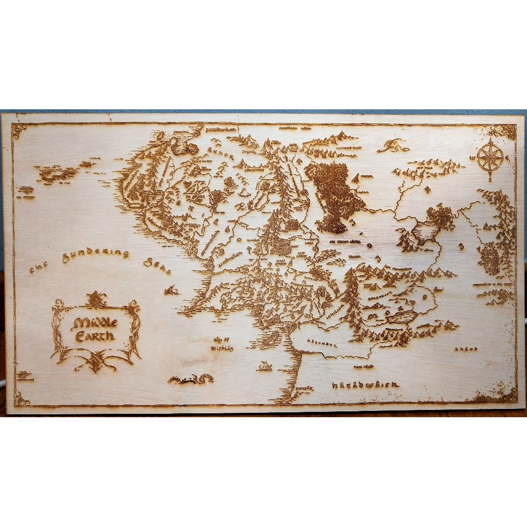 Middle Earth Map Large.Lord Of The Rings Middle Earth Map Laser Engraved Large Design