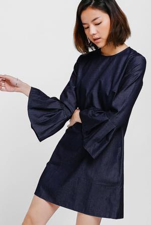 71ff480b044 LOVE BONITO  Kora Pleated Bell Sleeves Denim Dress