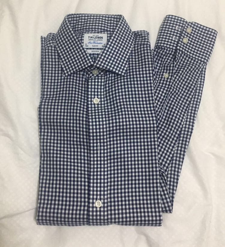 d6735503 New TM Lewin Check Shirt Navy Size L, Men's Fashion, Clothes, Tops on  Carousell