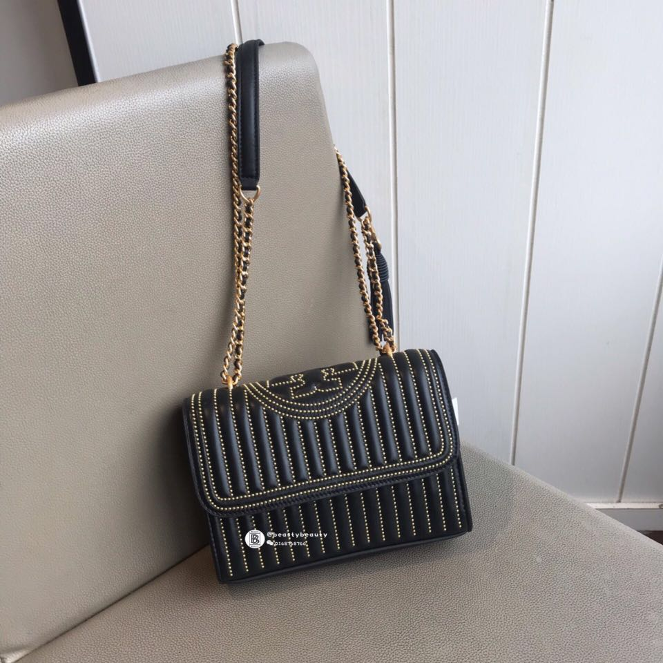 c28246f5d75 NEW❤️Tory Burch Fleming Stud Convertible Shoulder Bag - Black ...