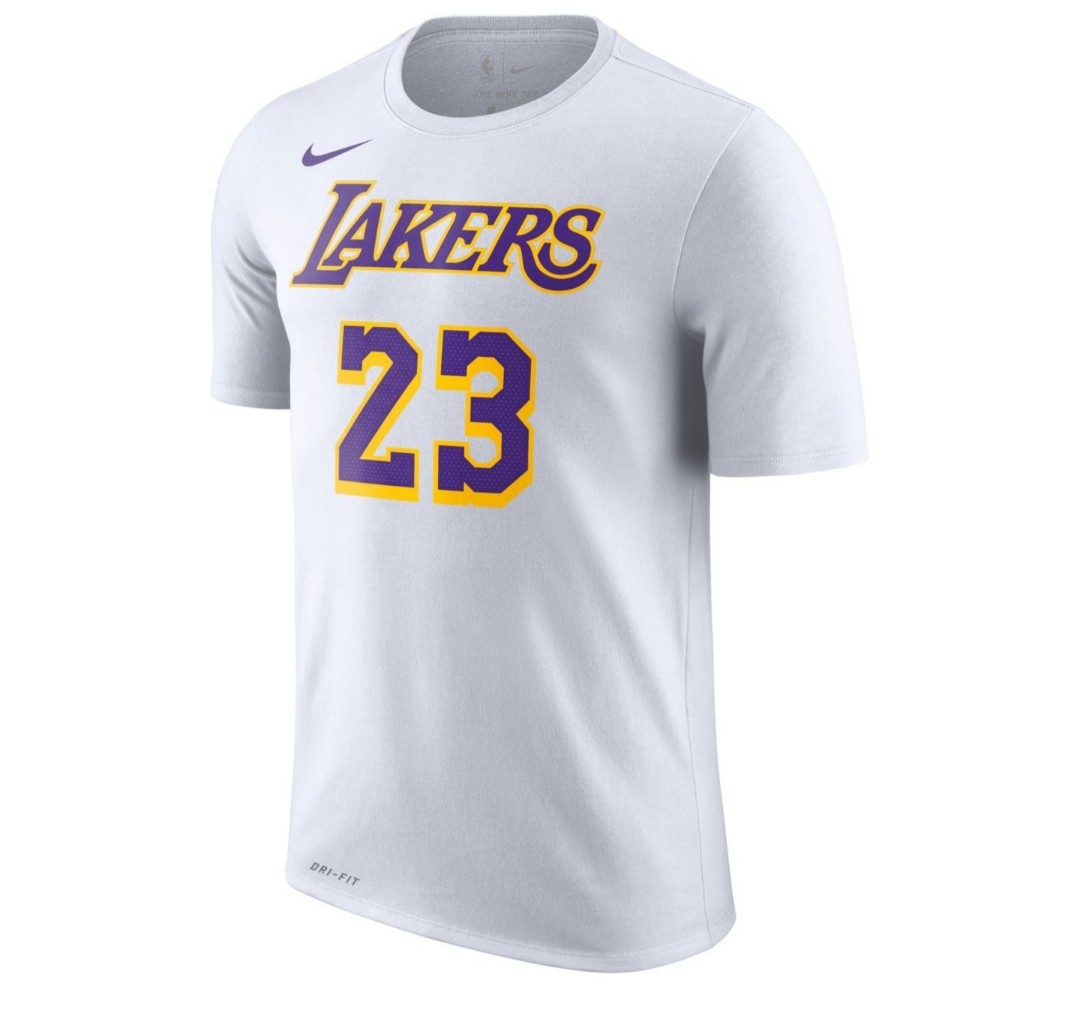 1a6e39a0e614 Nike LA Lakers LeBron James Dri-FIT White T-Shirt
