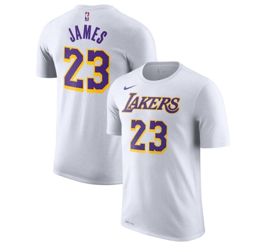 timeless design f7808 951e4 Nike LA Lakers LeBron James Dri-FIT White T-Shirt, Men's ...