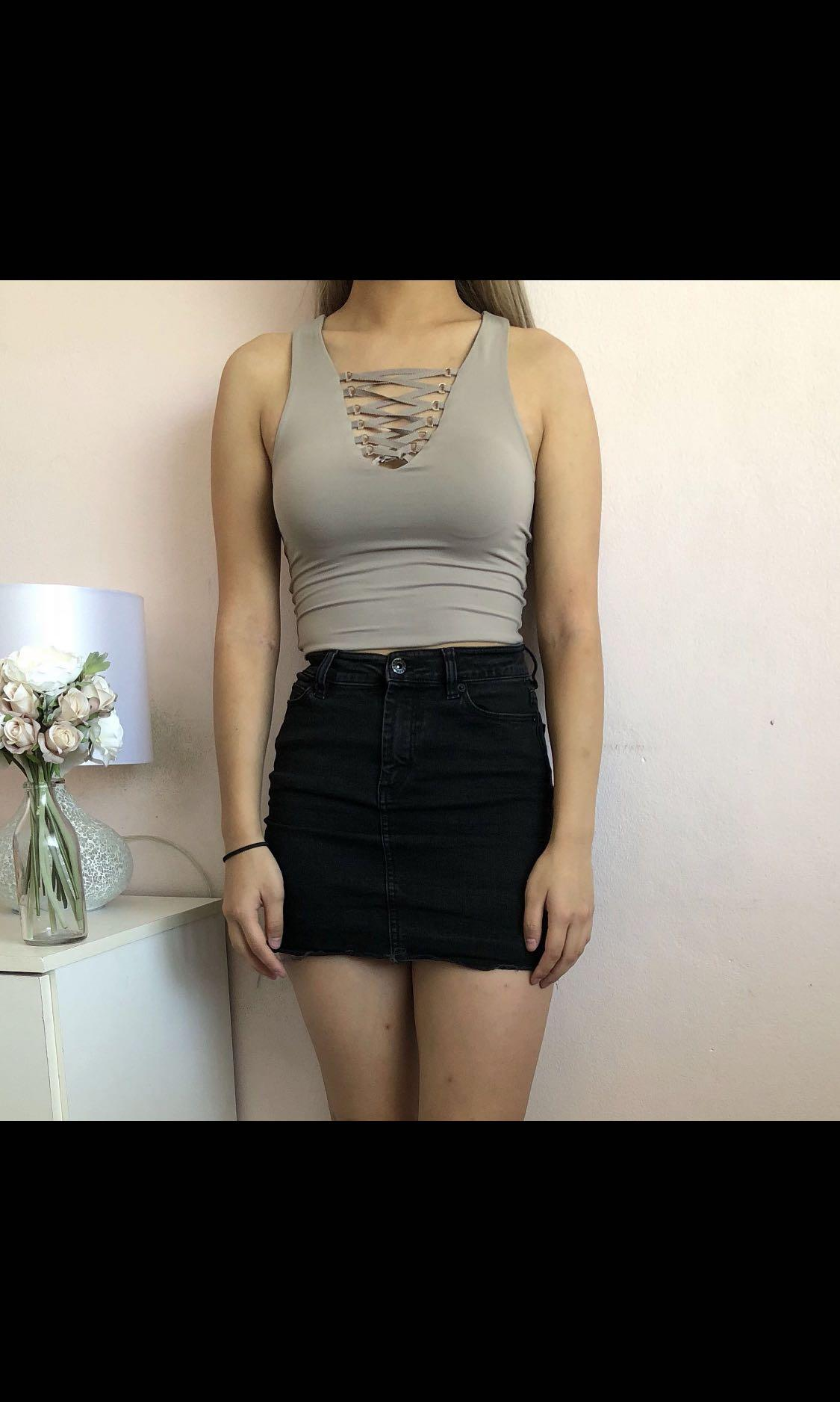 Nude Taupe Slinky Lace Up Crop Top
