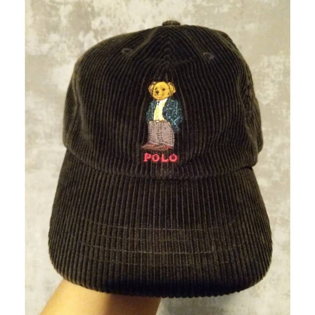Corduroy Black Polo Bear Ralph Lauren Cap a35fb6eaef7