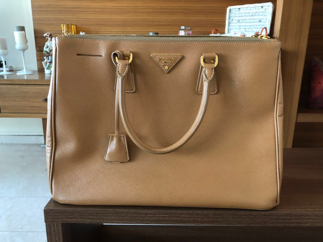 cf0654cd9f9edc Prada Double Galleria Large Tote Caramel Saffiano Leather Satchel ...