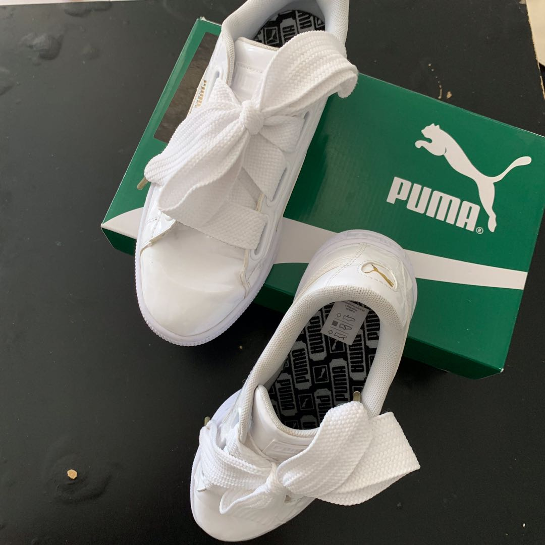 detailed look ff712 727ca Puma Basket Heart Patent White on Carousell