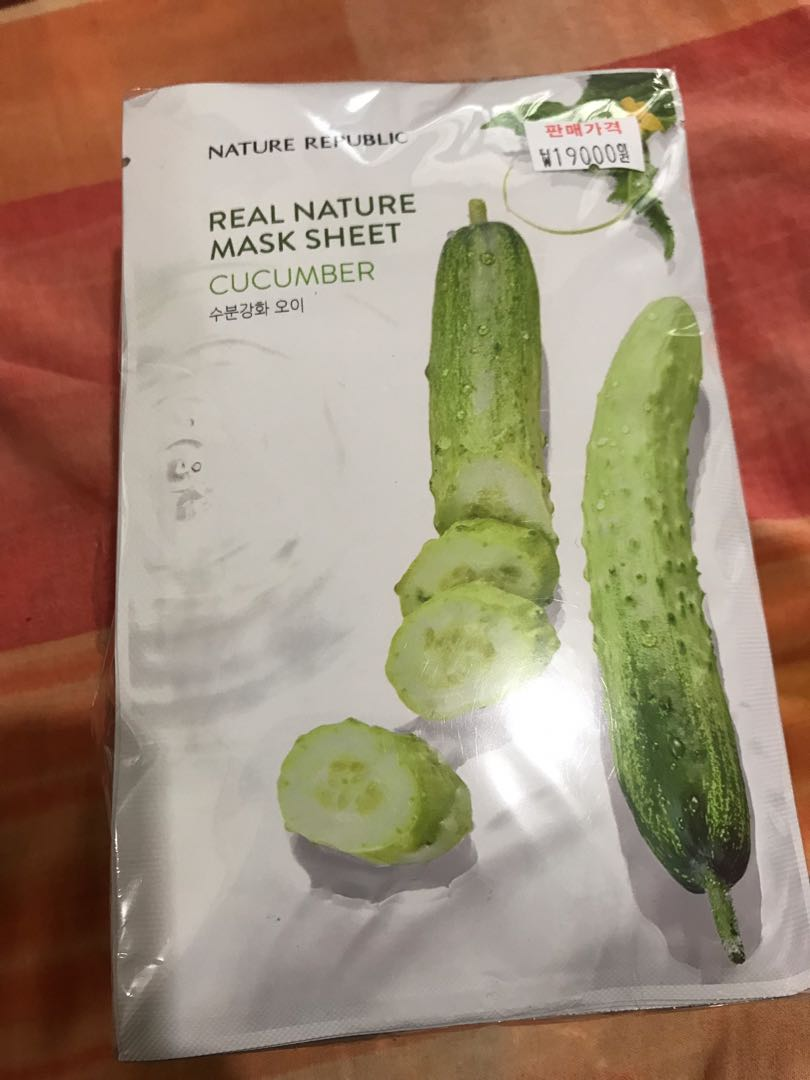 Real Nature Mask Sheet Cucumber, Health & Beauty, Skin, Bath, & Body on Carousell