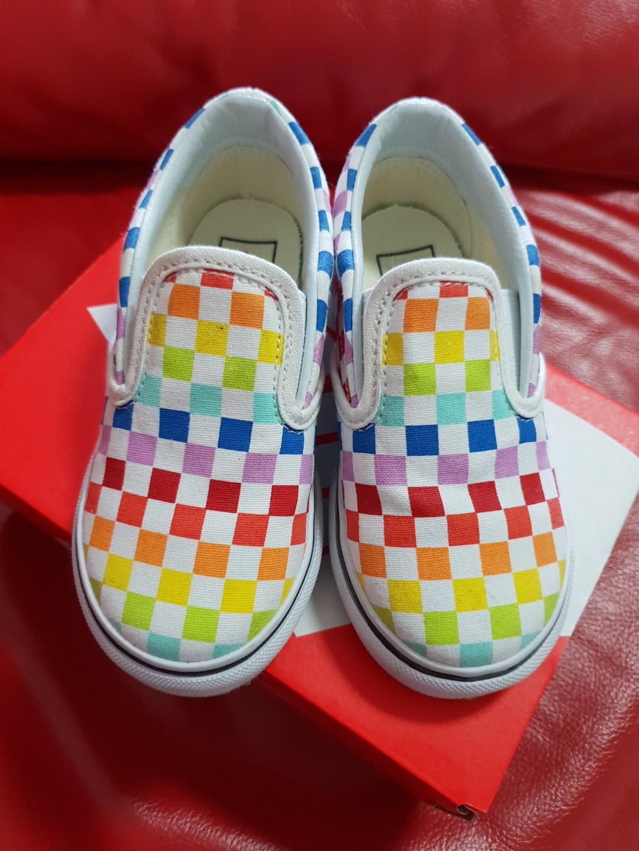 Vans Kids Slip On Checkerboard Rainbow