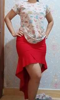 Rok mermaid merah