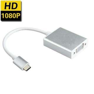 🚚 USB-C Type C To VGA Adapter Male To Female Cable For Macbook Chromebook Laptop