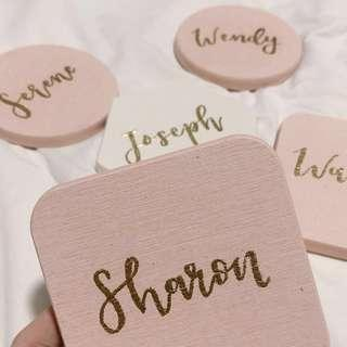 🚚 vday embossed customisable wooden coasters