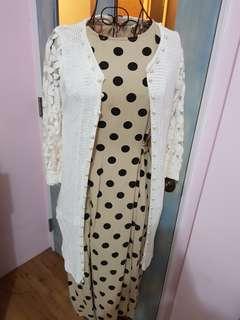 🚚 蕾絲針織長版罩衫